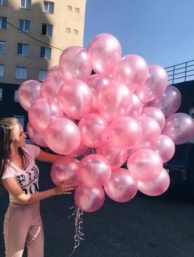 Розовые шарики металлик