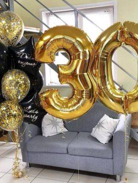 Набор из 2 фольгированных цифр и букета шаров с индивидуальными надписями
