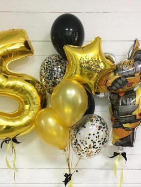 Набор из фольгированной цифры, фигуры и букета шаров