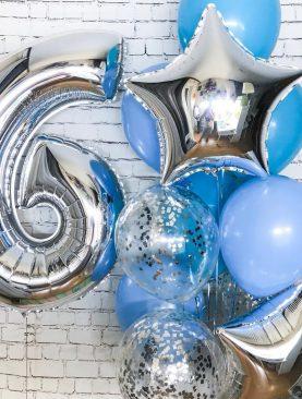 Набор из цифры и букета с фольгированными звездами, конфетти и лактексными шарами