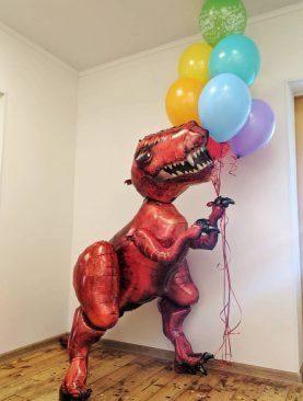Шар динозавр с букетом шаров