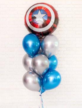 Из шара Щит Капитана Америка, 4 синих и 5 серебряных шаров хром
