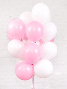 Облако из 20 латексных шариков бело-розового цвета