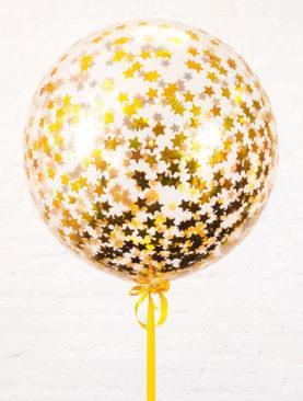 Шар гигант с золотым конфетти