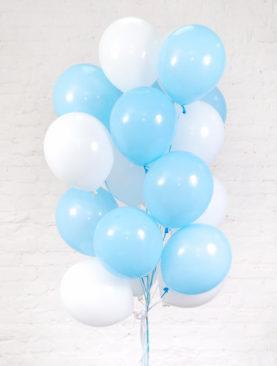 Облако из 20 шариков бело-голубого цвета