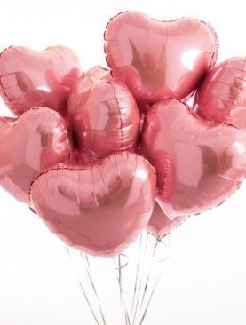 Облако из 10 сердец розового золота