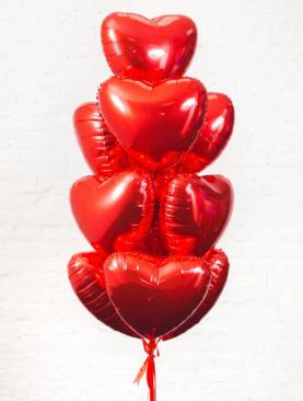 Набор из 10 фольгированных сердец
