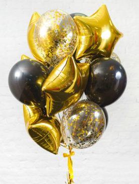 Набор из 5 золотых звезд, 6 черных и 4 прозрачных шаров с конфетти