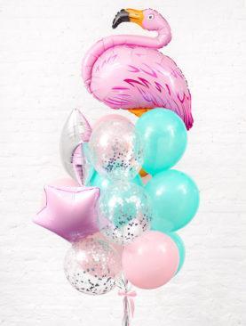 Набор из 10 шариков мятно-розового цвета, 3 шариков с конфетти 2 фольгированных звезд и розового фламинго