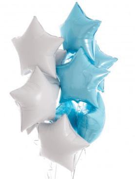 Набор из 10 фольгированных звезд бело-голубого цвета