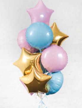 Набор из 10 розовых, голубых и золотых фольгированных звезд и кругов