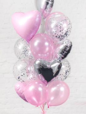 Набор из 5 фольгированных сердец, 5 шариков с конфетти и 5 латексных шариков