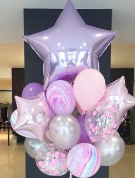 Набор из большой звезды, трех маленьких, трех шариков с конфетти, 3 шариков-агатов и 5 латексных шариков