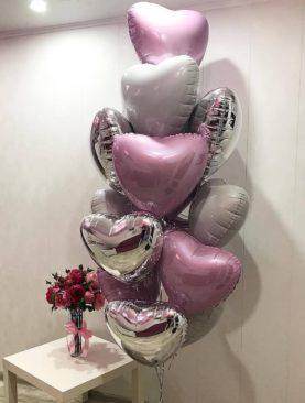 Набор из 12 фольгированных сердец
