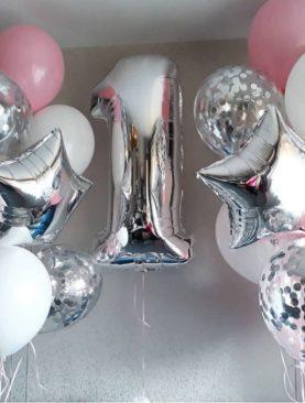 Набор из 12 шариков розово-белого цвета, 4 шариков с конфетти, 2 фольгированных звезд и фольгированной цифры