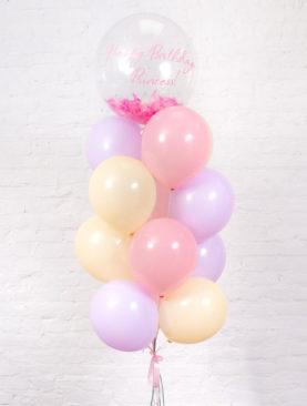 Набор из 15 шариков и большого шара-баблс с надписью и перьями внутри
