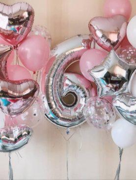 Набор из фольгированной цифры, 6 фольгированных звезд, и 10 розово-серебристых шаров