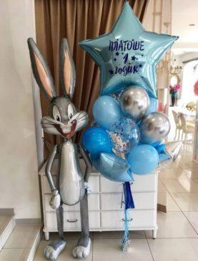 Набор из 10 шариков голубого, серебристого цвета, шариков с конфетти, большой звезды с надписью и ходячей фольгированной фигуры