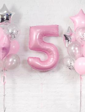 Набор из фольгтрованной цифры, 6 фольгированных звезд, 4 шариков с конфетти и 10 розово-серебристых шаров