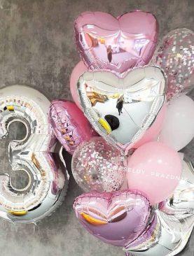 Набор воздушных шаров из цифры и фонтана с латексными и фольгированными шарами